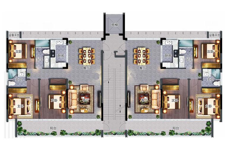 国广海棠湾 洋房户型 3室2厅2卫 建面118㎡