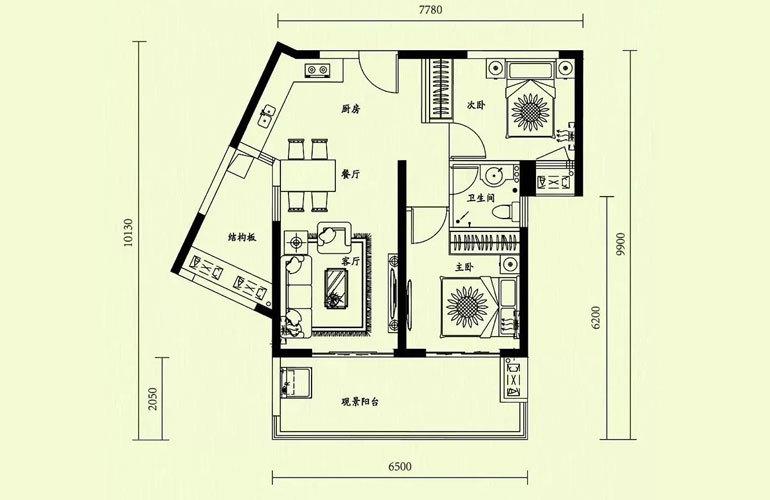 天隆三千海 2室2厅1卫 建面75㎡