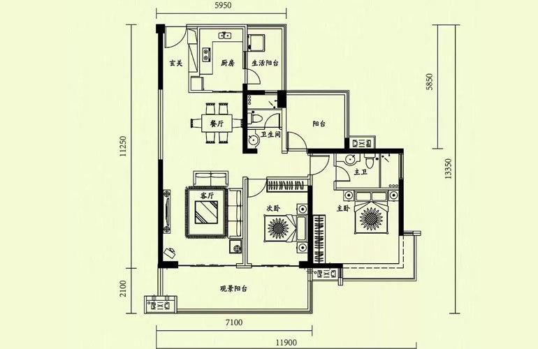 天隆三千海 2室2厅2卫 建面118㎡