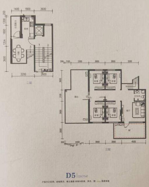燕南郡 D5户型,三室一厅一卫