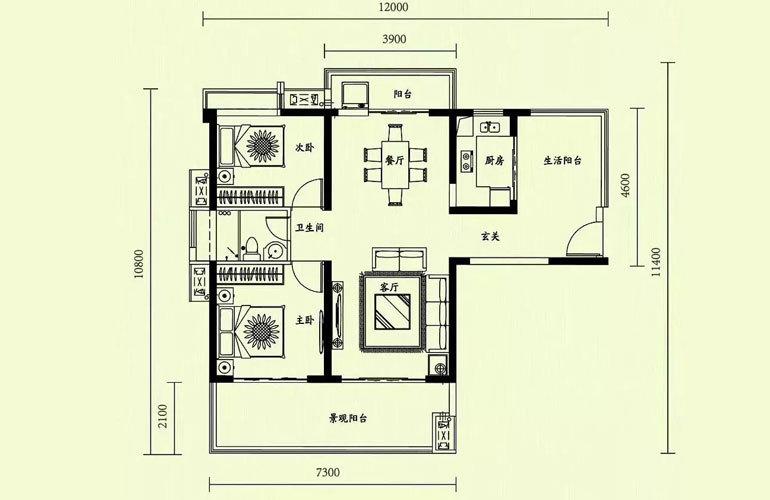 天隆三千海 2室2厅1卫 建面99㎡