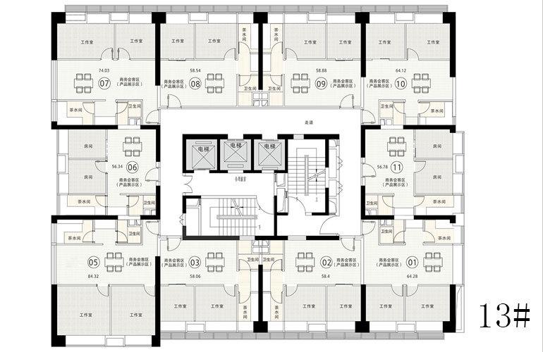 碧桂园滨江海岸 13#楼层平面图