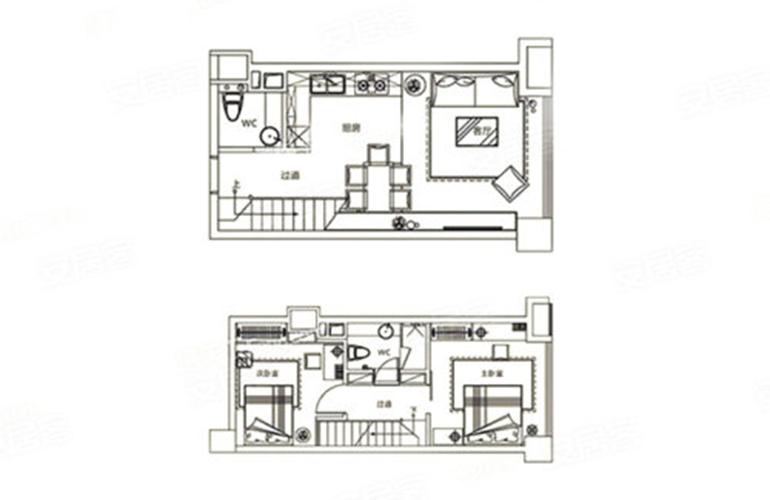 华亚欢乐城 B户型 2室1厅2卫 建面48㎡