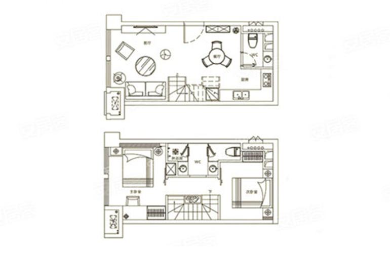 华亚欢乐城 C户型 2室2厅2卫 建面45㎡