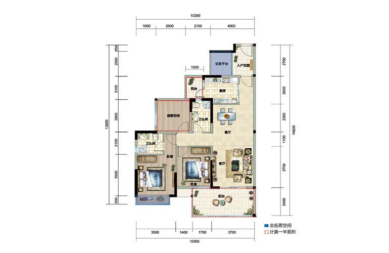 富力湾 01户型 3室2厅2卫1厨 建面111㎡