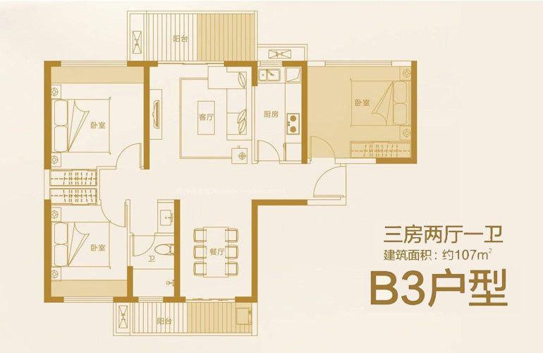 恩祥新城 B3户型 3房2厅1卫 建面107㎡