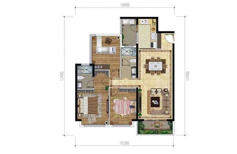 绿地滇池国际健康城 B-2户型 3室2厅2卫1厨 107㎡