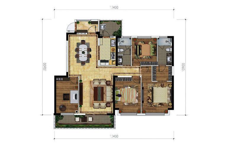 绿地滇池国际健康城 B-5户型 4室2厅2卫1厨 138㎡