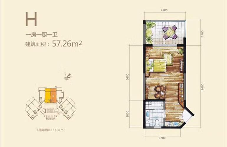 H户型 1室1厅1卫1厨 建面57㎡