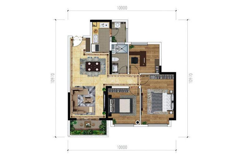 绿地滇池国际健康城 B-3户型 3室2厅1卫1厨 90㎡