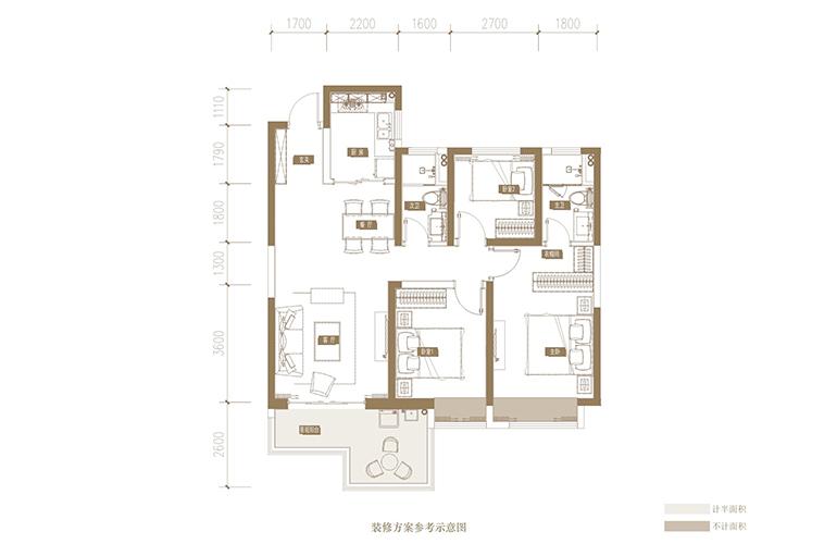 蓝光花田国际 G户型 3室2厅3卫1厨 115.68㎡