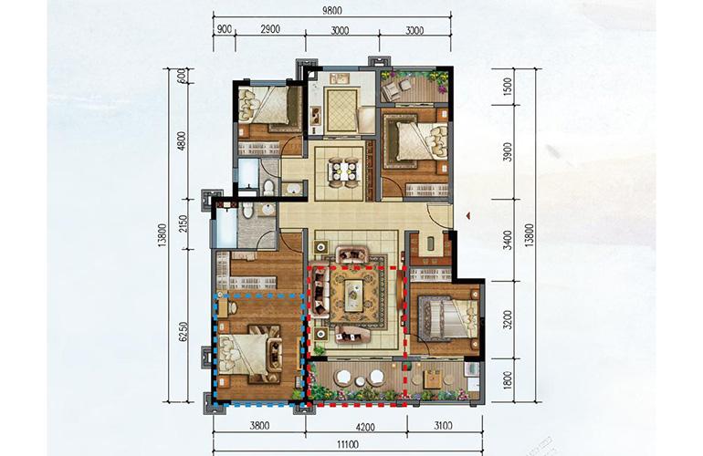 M户型 4室2厅2卫 建面 126㎡