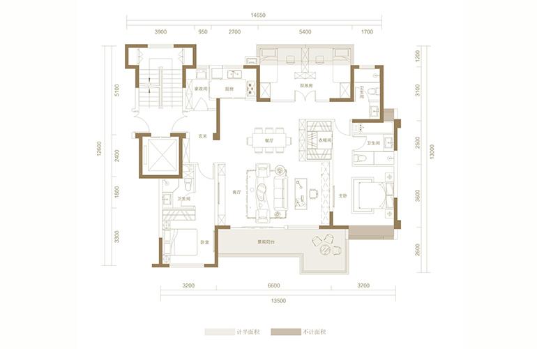 蓝光花田国际 H1户型 4室2厅3卫1厨 148.89㎡