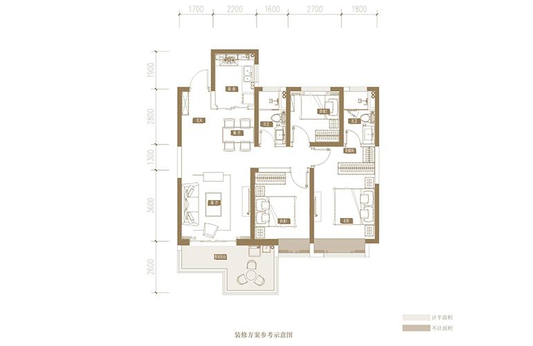 蓝光花田国际 G1户型 3室2厅2卫1厨 113.91㎡