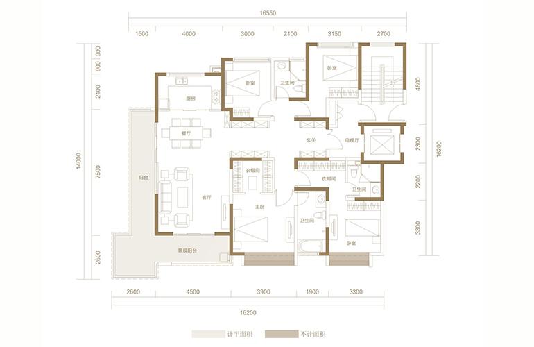 蓝光花田国际 A1户型 4室2厅3卫1厨 174.66㎡