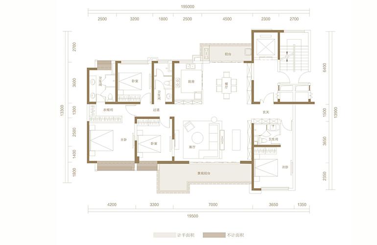 蓝光花田国际 G1户型 4室2厅3卫1厨 198.70㎡