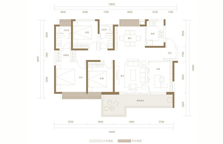 蓝光花田国际 F1户型 3室2厅2卫1厨 143.40㎡