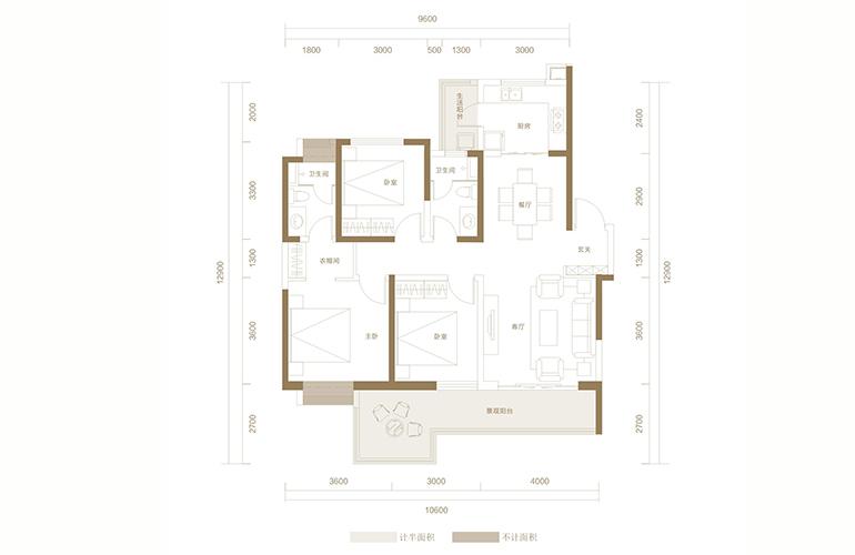 蓝光花田国际 D1户型 3室2厅2卫1厨 128.01㎡