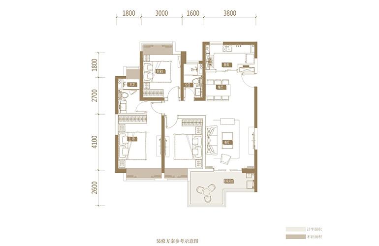 蓝光花田国际 A1户型 3室2厅2卫1厨 120.3㎡