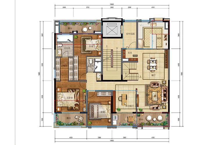 Y3户型 3室2厅2卫 建面145㎡