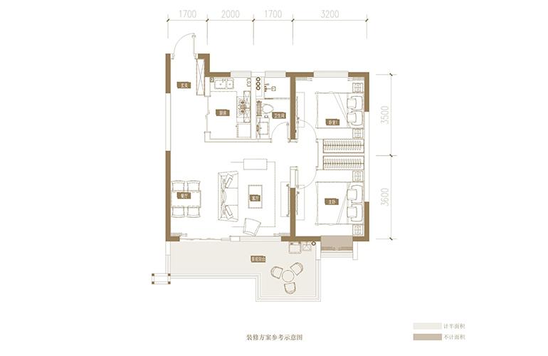 蓝光花田国际 I户型 2室2厅1卫1厨 93.88㎡