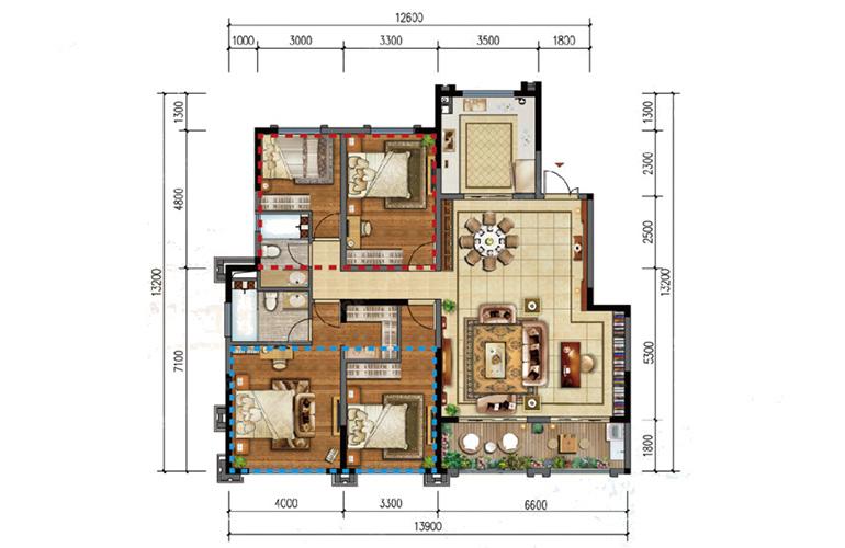 N户型 4室2厅2卫 建面139㎡