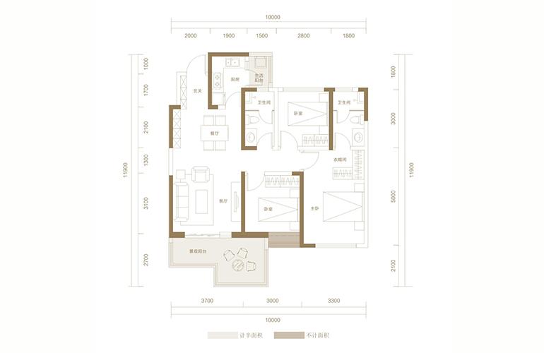 蓝光花田国际 E1户型 3室2厅2卫1厨 113.19㎡