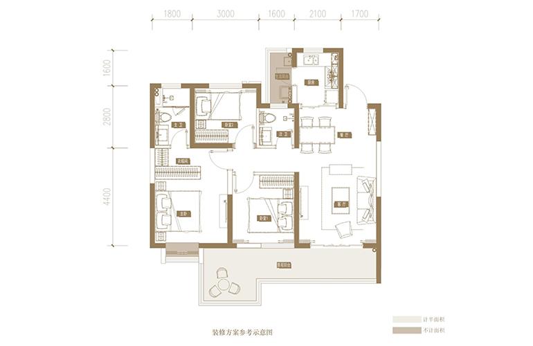 蓝光花田国际 H户型 3室2厅2卫1厨 112.42㎡