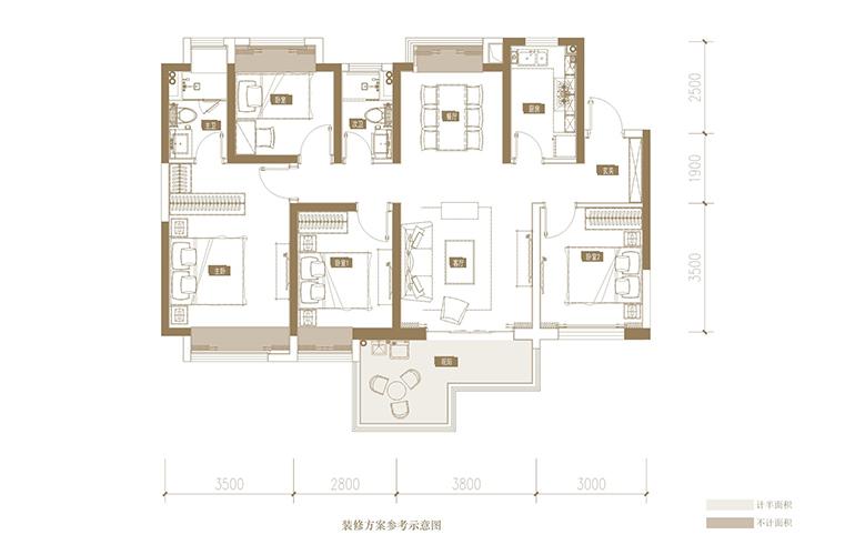 蓝光花田国际 F户型 4室2厅2卫1厨 128.91㎡