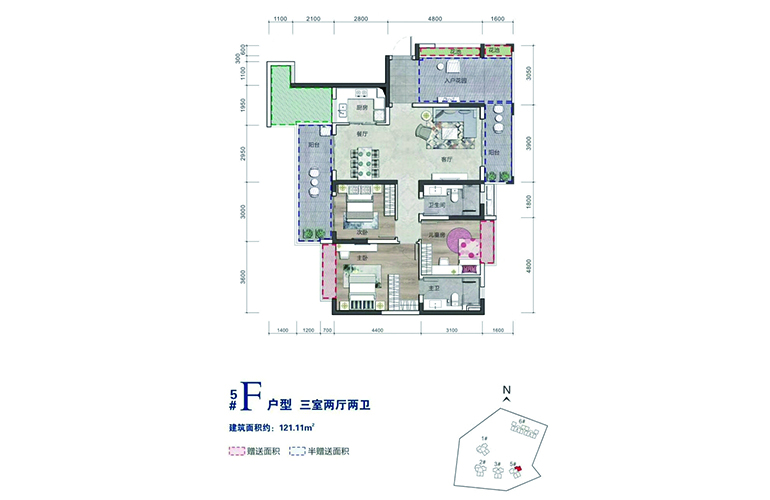 毗海澜湾 F户型 3室2厅2卫 建面121㎡