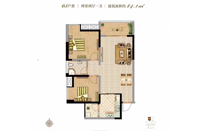 双杰蓝海国际 05户型 2室2厅1卫 建面84㎡