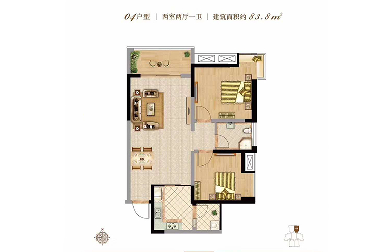 双杰蓝海国际 04户型 2室2厅1卫 bte365假网址_bte365客服电话_bte365怎么进83㎡