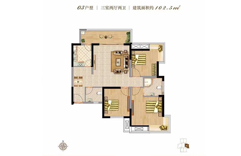 双杰蓝海国际 03户型 3室2厅2卫 建面102㎡