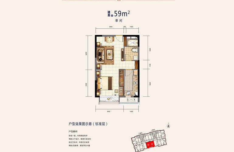 恒大文化旅游城 开间户型-1室-建面59㎡