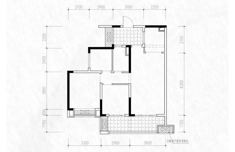 融创万达文旅城 C4′户型 3室2厅1卫1厨 88.88㎡