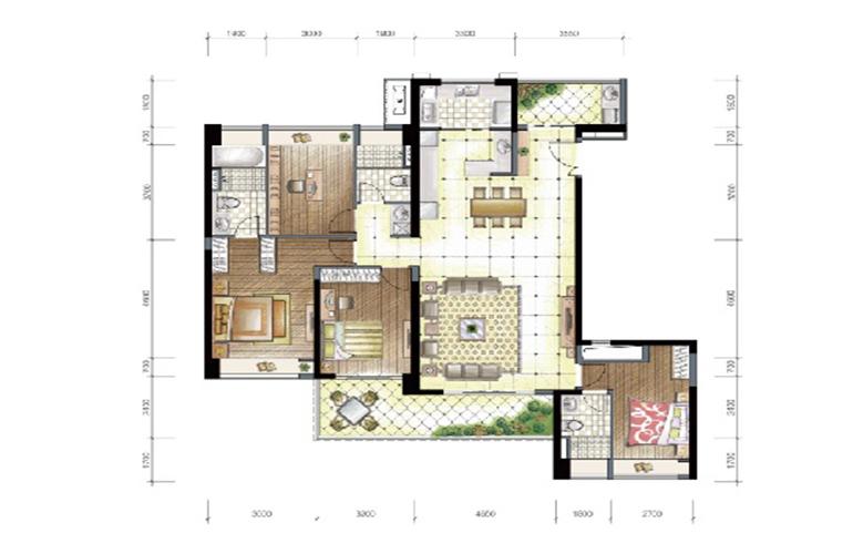 D1、D2户型01、02房 4房2厅3卫1厨2阳台 194㎡