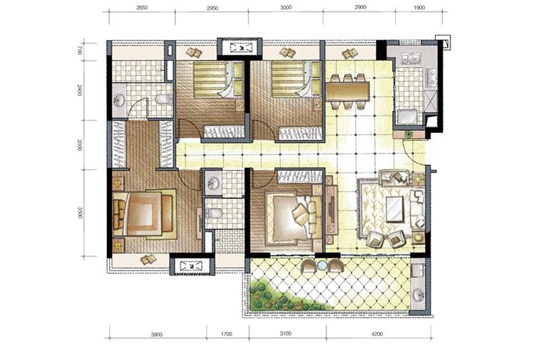 A4户型01房 4房2厅2卫1厨1阳台 137㎡