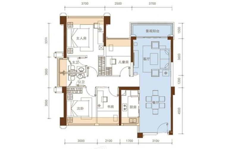 五洲家园 26栋03户型 4室2厅2卫1厨 90㎡
