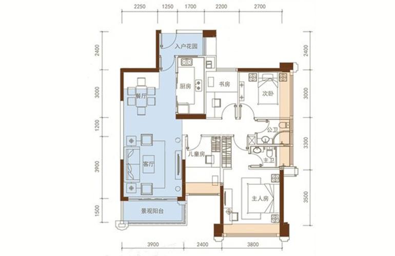五洲家园 26栋02户型 4室2厅2卫1厨 97㎡