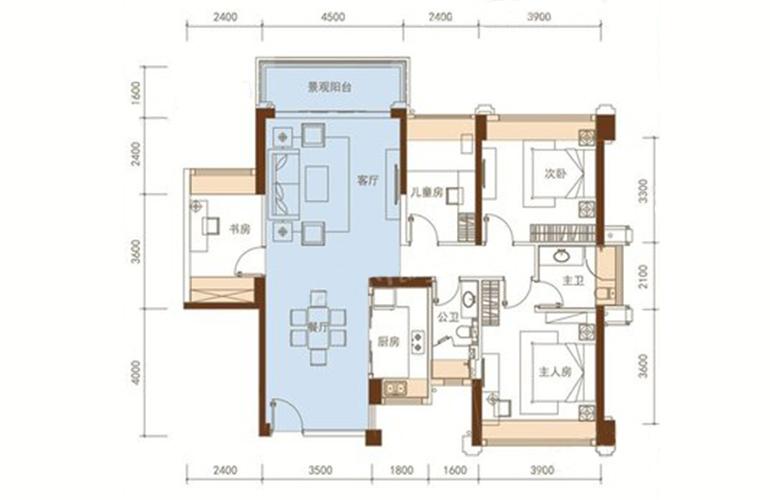 五洲家园 23栋04户型 4室2厅2卫1厨 107㎡