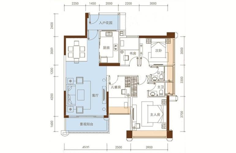五洲家园 23栋02户型 4室2厅2卫1厨 108㎡