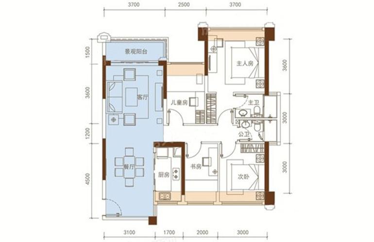 五洲家园 26栋05户型 4室2厅2卫1厨 92㎡