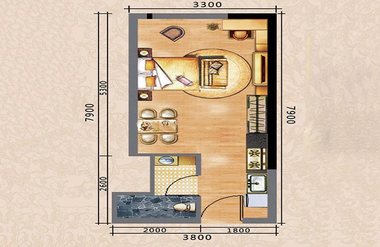 路建大楼 A户型 1室1厅1卫1厨 38㎡