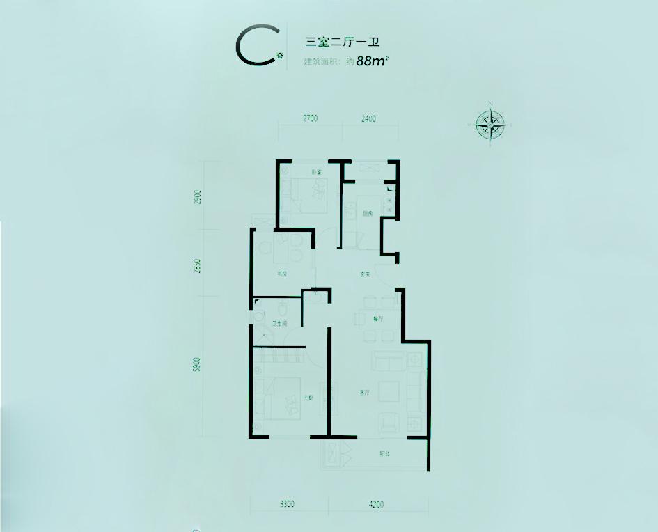 首开·缇香郡 C户型,三室两厅一卫