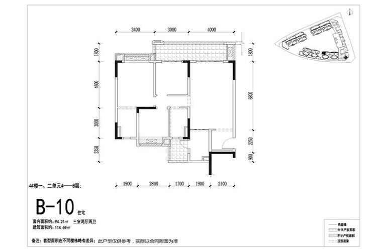 融创万达文旅城 B10户型 3室2厅2卫1厨 建面144.69㎡