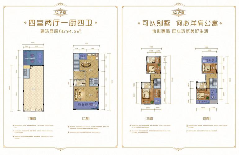 城北世家 别墅A2户型 4室2厅1厨4卫 建面294㎡