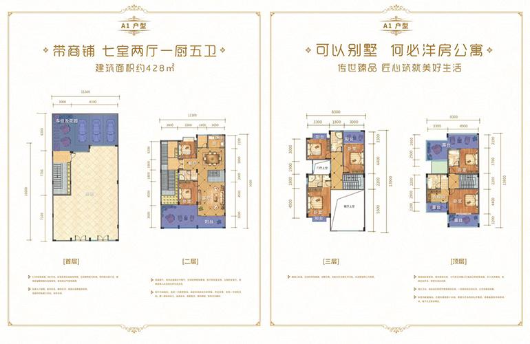 城北世家 别墅A1户型 7室2厅1厨5卫 建面428㎡
