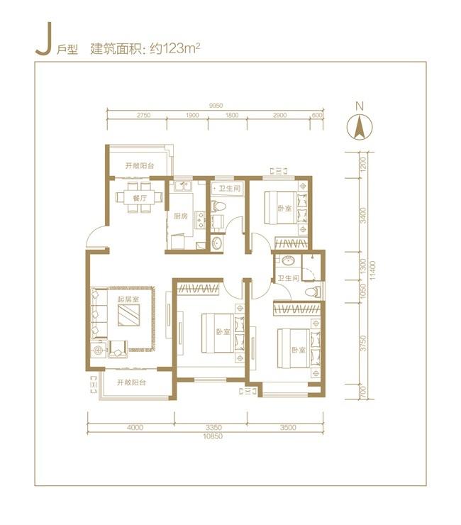 东方蓝海中心 J户型三室两厅两卫