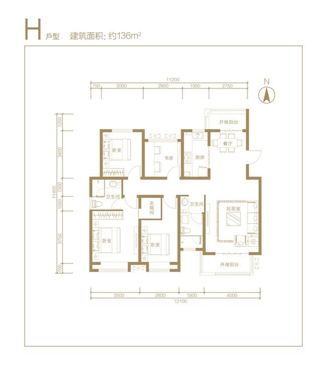 东方蓝海中心 H户型四室两厅两卫