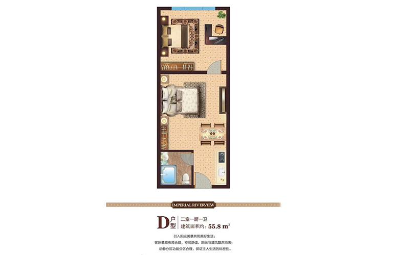 碧桂园雅拉湖畔 酒店式公寓D户型 2室1厨1卫 建面55㎡